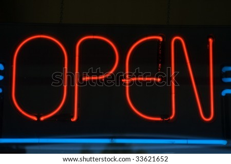Red and blue neon open sign