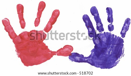 Red and blue painted hand prints - stock photo