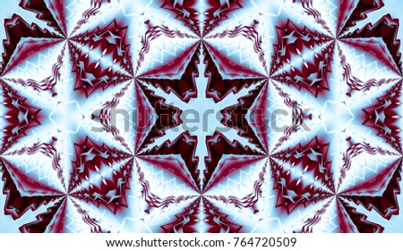 Red and blue pattern with flower