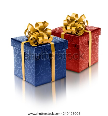 Red and blue present boxes with golden ribbon for him and her - stock photo