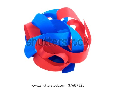 Red and Blue ribbons on white