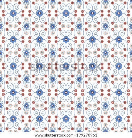 Red and Blue Seamless Floral pattern  - stock photo