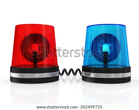Red and Blue Siren System isolated on white background - stock photo