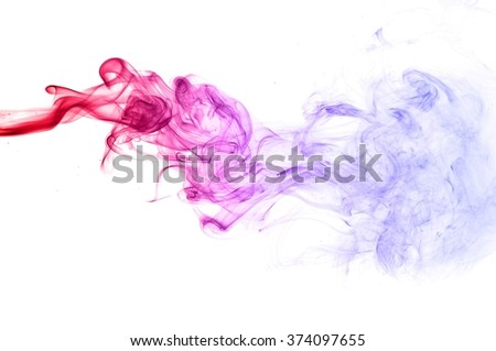Red and blue smoke swirl  on white background, Color smoke on white background - stock photo