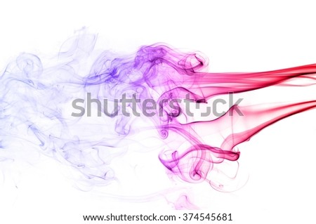 Red and blue smoke swirl  on white background, Color smoke on white background