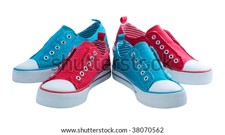 red and blue sneakers