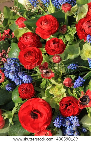 Red and blue spring flower arrangement: anemones, ranoncullus and