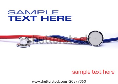 red and blue stethoscopes isolated in white background - stock photo