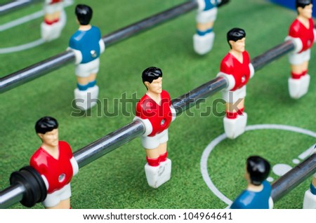 Red and blue table soccer players from top down