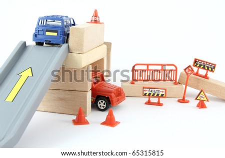 Red and blue toy car - stock photo