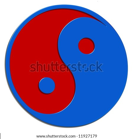 red and blue ying and yang symbol - stock photo