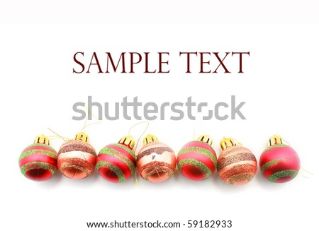 Red and Brown christmas balls isolated on white - stock photo