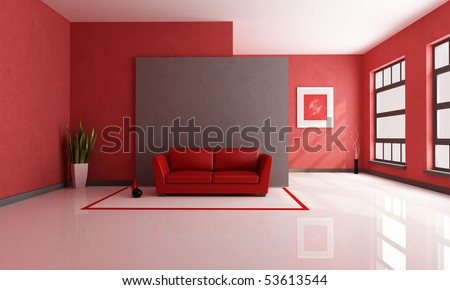 red and brown minimalist living room - rendering - the art picture on wall is a my composition - stock photo