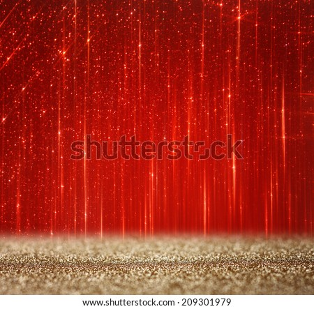 red and gold abstract bokeh lights. defocused background  - stock photo