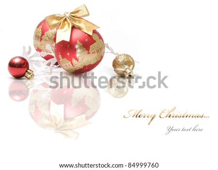 Red and gold christmas ball bubbles on white background