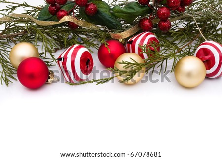 Red and gold christmas balls on a white background, christmas time