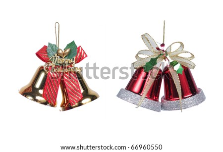 red and gold christmas bells with christmas ribbon bow decorations - stock photo