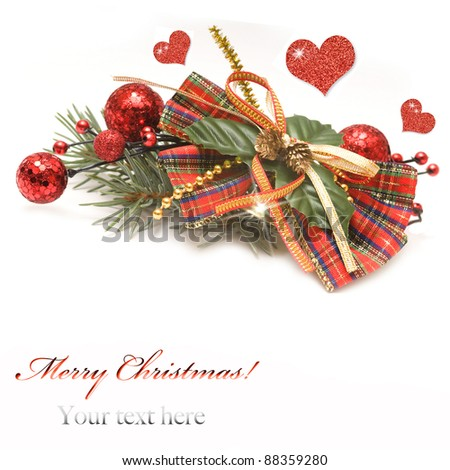 Red and gold christmas decoration  with hearts on white background - stock photo