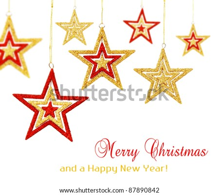 Red and gold Christmas stars ornaments hanging, isolated on white background - stock photo