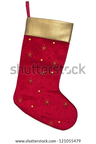 Red and Gold Christmas stocking on White background - stock photo