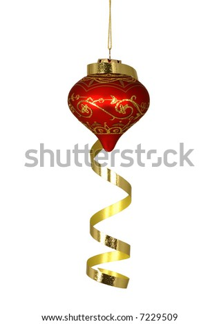 Red and Gold Christmas Tree Ornament Hanging with Gold Ribbon Draped over it