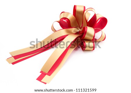 Red and gold gift bow - stock photo