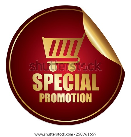 Red and Gold Metallic Special Promotion Sticker, Icon or Label Isolated on White Background  - stock photo