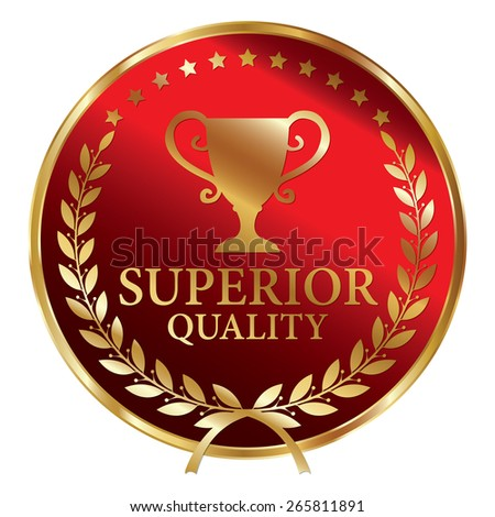Red and Gold Metallic Superior Quality Label, Sticker, Banner, Sign or Icon Isolated on White Background - stock photo