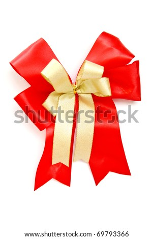 red and gold ribbon bow isolated on white background - stock photo