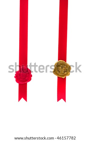 Red and gold wax seal with ribbon over white background - stock photo