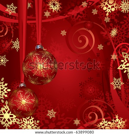 Red And Golden Christmas Baubles And Snowflakes Background - stock photo