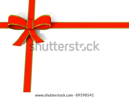 red and golden ribbon - stock photo