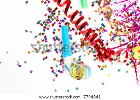 red and golden spirals, purple steamers, small confetti stars and colorful blowers on white background, party time - stock photo