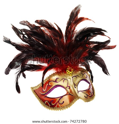 red and golden venetian mask (isolated on white) - stock photo