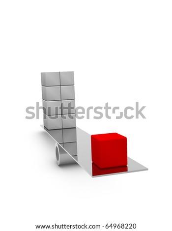 Red and gray blocks on a balance. 3d rendered image. - stock photo