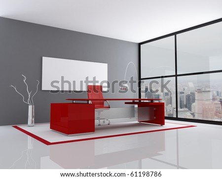 red and gray city office - rendering - the image on background is a my photo - stock photo