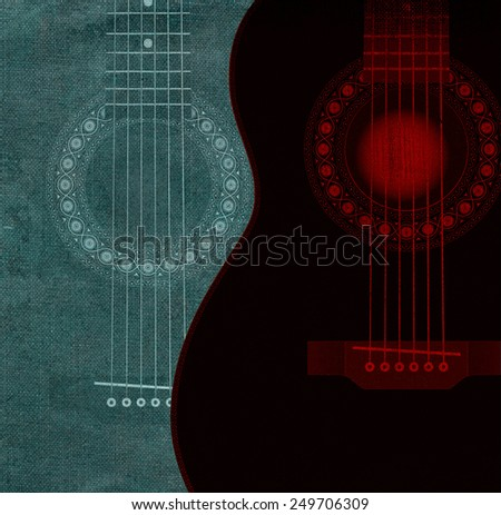 Red and gray guitars - stock photo
