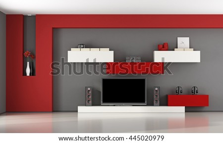 Red and gray living room with wall unit and television set - 3d rendering