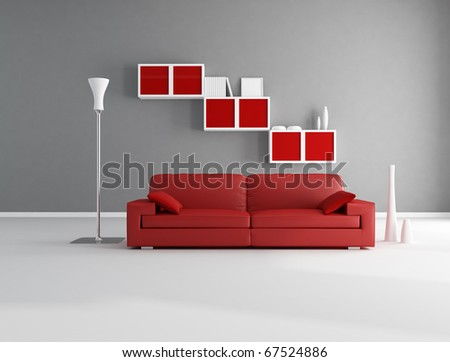 Red and gray minimalist living room - rendering - stock photo