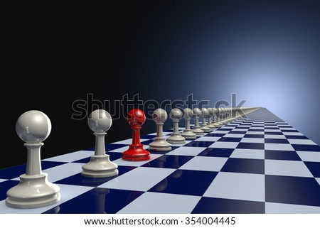 Red and gray pawn chess pieces. Dark Blue artistic background. - stock photo