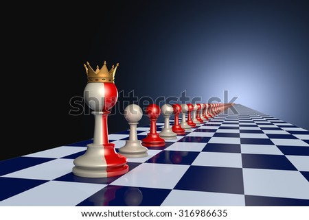 Red and gray pawns on a chessboard. Artistic dark blue background. - stock photo