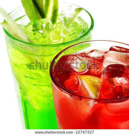 Red and Green Alcoholic Cocktails - stock photo
