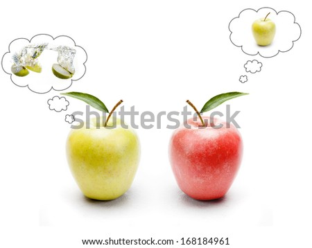 red and green apple contemplating - stock photo
