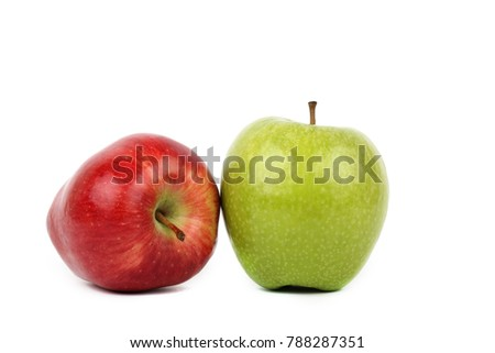 red and green apple diet on white ground