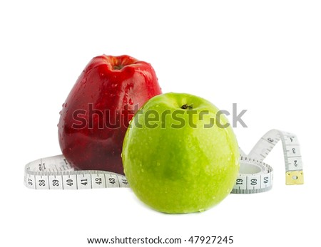 Red and green apple isolated on white