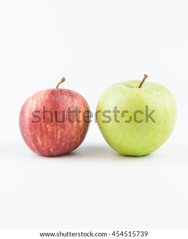 Red and green apple, isolated on white background