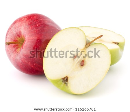 Red and green apple isolated on white background cutout - stock photo