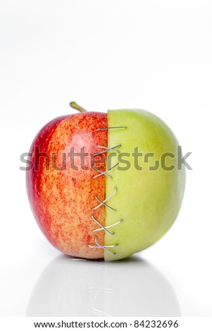 red and green apple putted togetherr with a sulture - stock photo