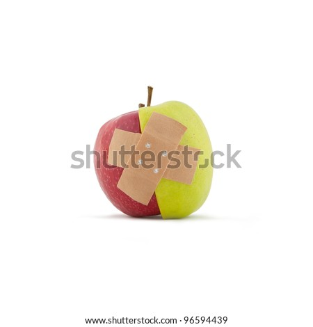Red and Green apple with pavement on white background - stock photo