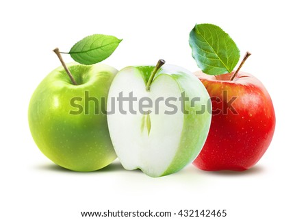Red and green apples and half of green apple isolated on white background with clipping path. Two juicy ripe colored apples on a white background isolated with clipping path. - stock photo